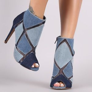 BRAND NEW!!! DAZZLING DENIM PATCHWORK HEELS